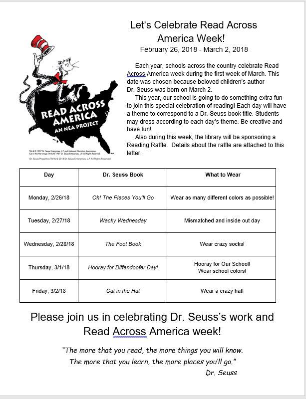 Let's Celebrate Read Across America Week