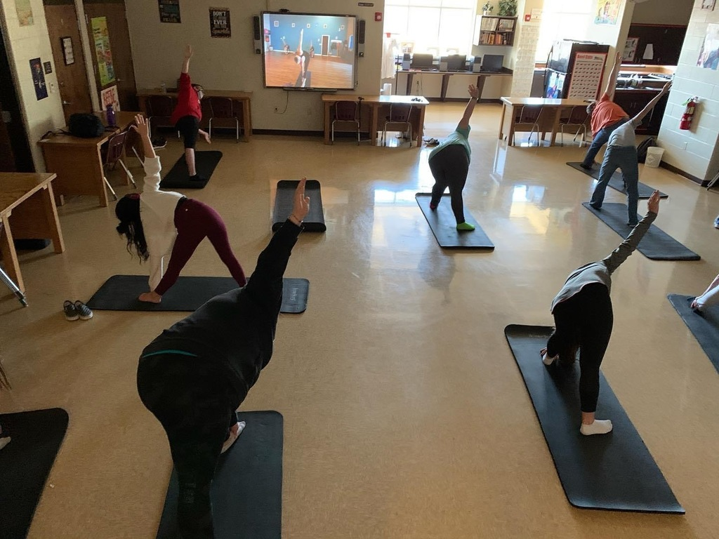 Yoga in Mrs. Davis 3rd Period class