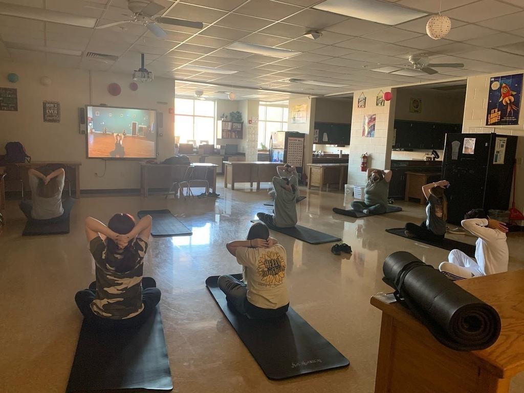 Yoga in Mrs. Davis 7th period class