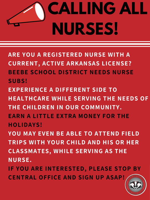 Nurse subs needed