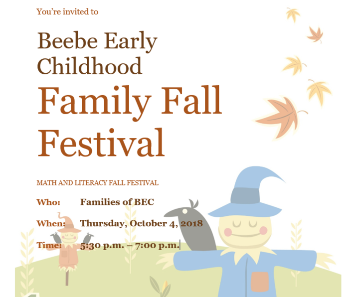 Beebe Early Childhood Family Fall Festival