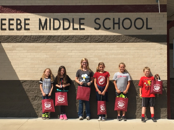 The winners of the Badger Book Mobile Summer Reading Challenge: Abigail Clark, Madison Turner, Emma Dunn, Katelyn Manning, Lily Smith, and Krome Cox
