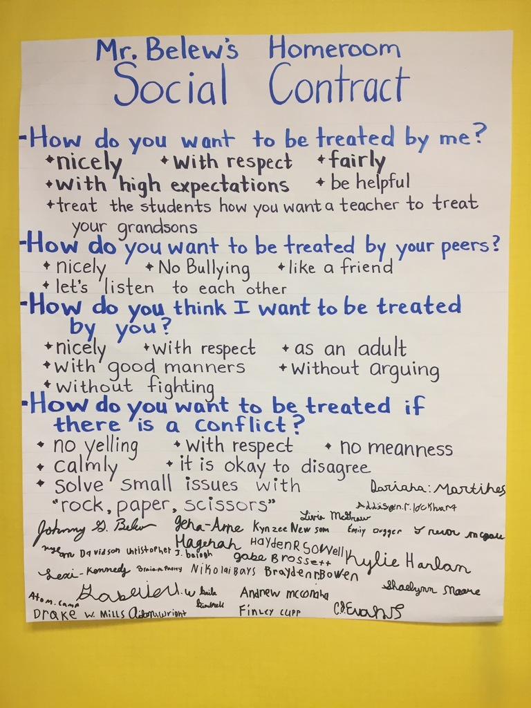 A homeroom social contract at Beebe Middle School