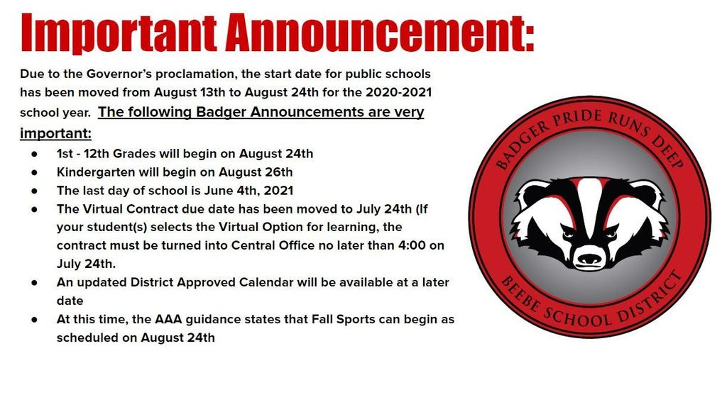 Badger Announcement